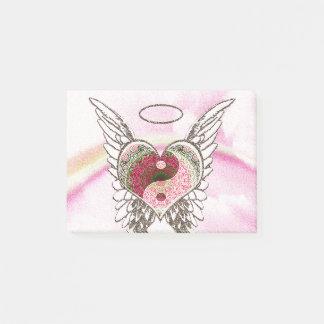 Den Yin Yang hjärtaängeln påskyndar vattenfärg Post-it Lappar