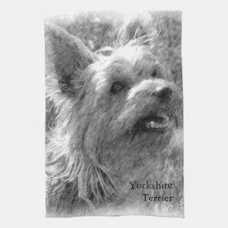 Den Yorkshire terrieren ritar teckningen Kökshandduk