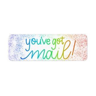 Den You've har postar! Kuvert som förseglar Returadress Etikett