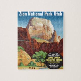 Den Zion nationalparken, Utah Amerika reser Pussel