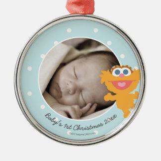 Den Zoe | baby första jul - tillfoga ditt namn Julgransprydnad Metall