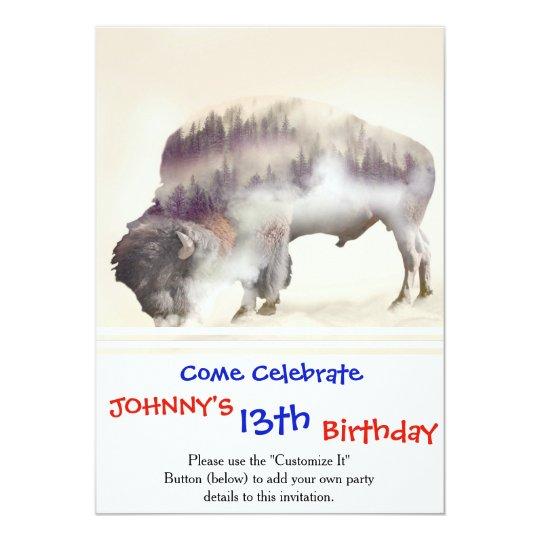 dendubbla exponering-amerikanen buffel-landskap 12,7 x 17,8 cm inbjudningskort
