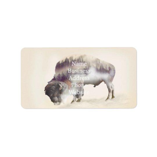 dendubbla exponering-amerikanen buffel-landskap adressetikett