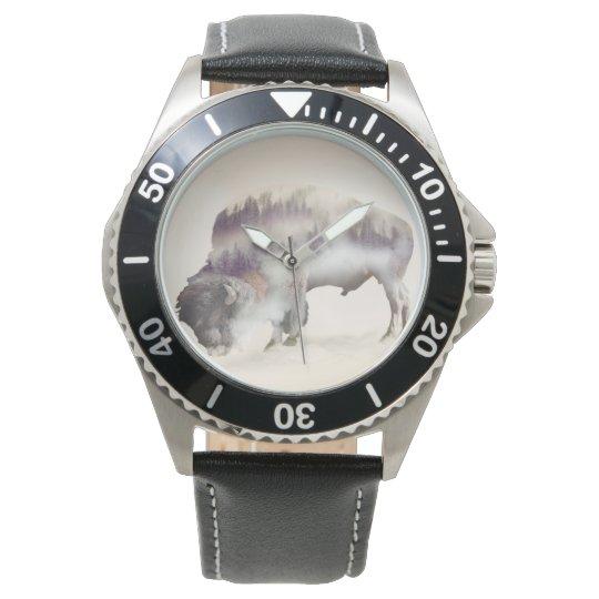 dendubbla exponering-amerikanen buffel-landskap armbandsur