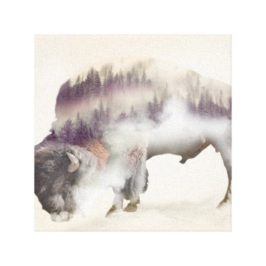 dendubbla exponering-amerikanen buffel-landskap canvastryck