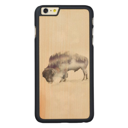 dendubbla exponering-amerikanen buffel-landskap carved lönn iPhone 6 plus skal