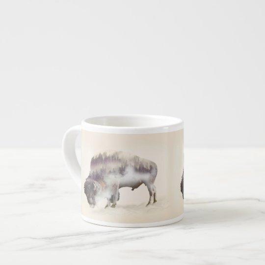 dendubbla exponering-amerikanen buffel-landskap espressomugg