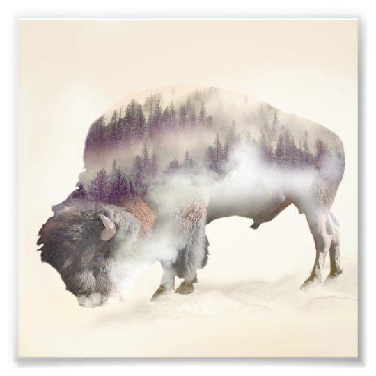 dendubbla exponering-amerikanen buffel-landskap fototryck