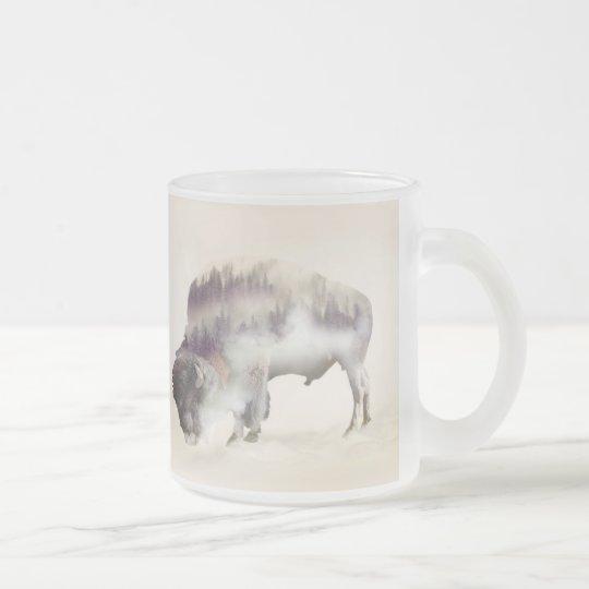 dendubbla exponering-amerikanen buffel-landskap frostad glas mugg
