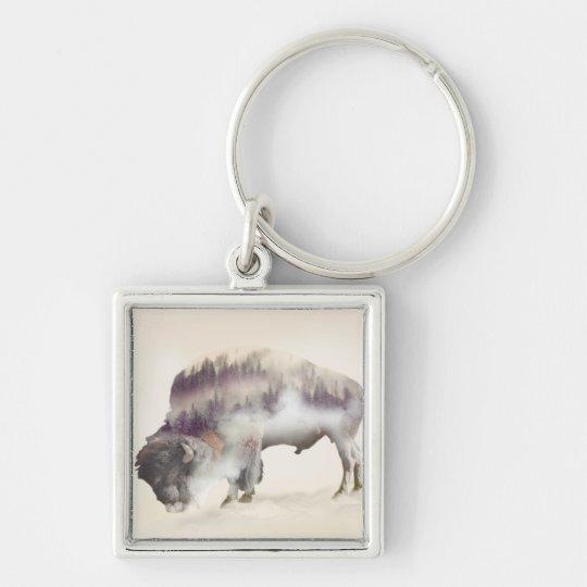 dendubbla exponering-amerikanen buffel-landskap fyrkantig silverfärgad nyckelring