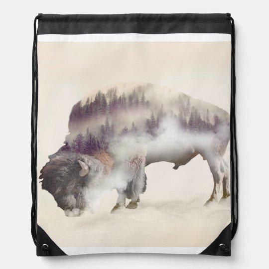 dendubbla exponering-amerikanen buffel-landskap gympapåse