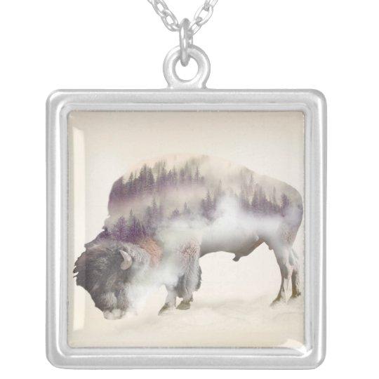 dendubbla exponering-amerikanen buffel-landskap halsband med fyrkantigt hängsmycke