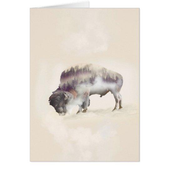 dendubbla exponering-amerikanen buffel-landskap hälsningskort