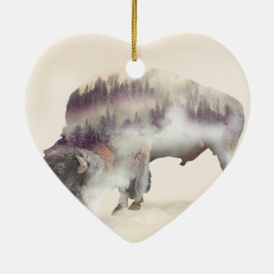 dendubbla exponering-amerikanen buffel-landskap hjärtformad julgransprydnad i keramik