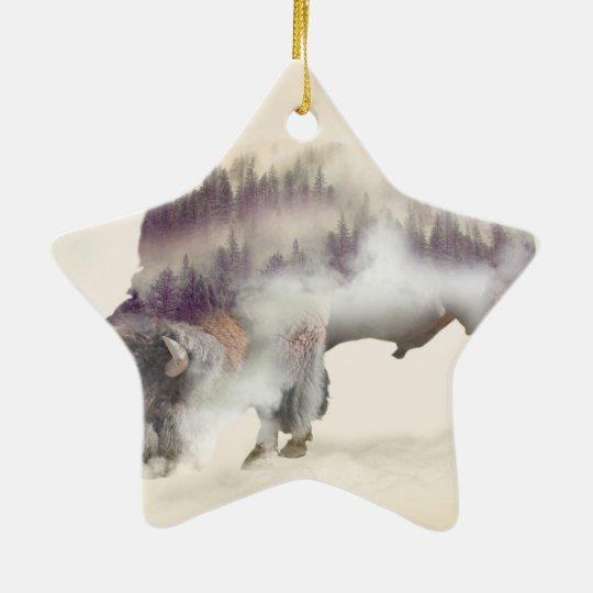 dendubbla exponering-amerikanen buffel-landskap julgransprydnad keramik
