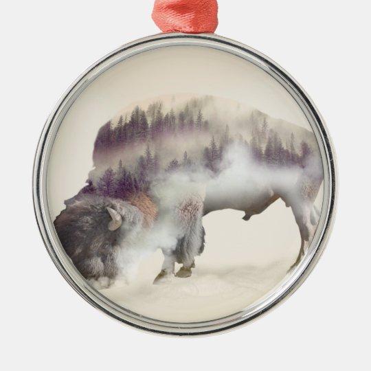 dendubbla exponering-amerikanen buffel-landskap julgransprydnad metall