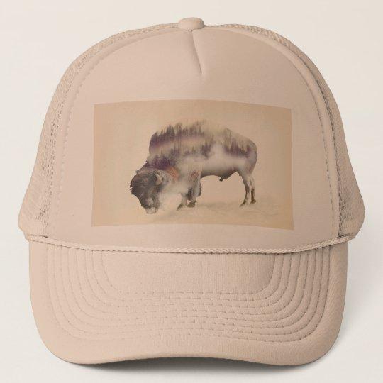 dendubbla exponering-amerikanen buffel-landskap keps