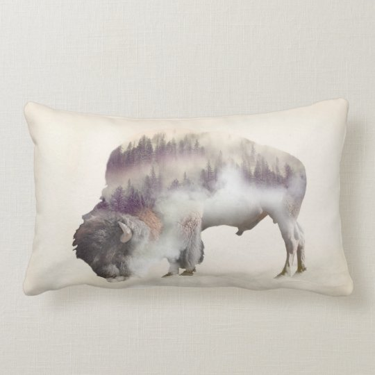 dendubbla exponering-amerikanen buffel-landskap lumbarkudde