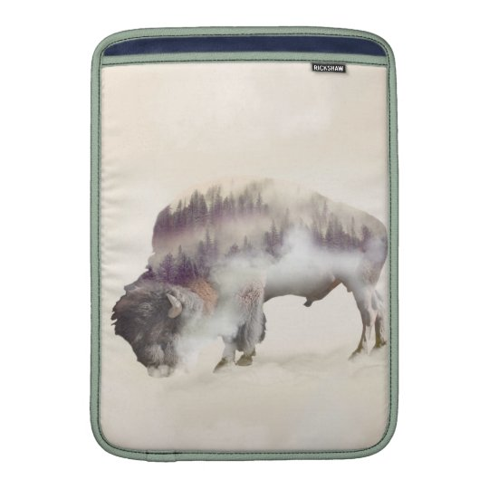 dendubbla exponering-amerikanen buffel-landskap MacBook sleeve
