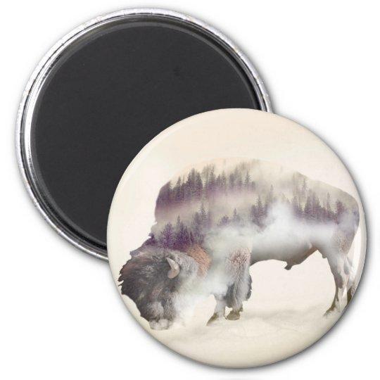 dendubbla exponering-amerikanen buffel-landskap magnet rund 5.7 cm