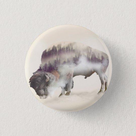 dendubbla exponering-amerikanen buffel-landskap mini knapp rund 3.2 cm