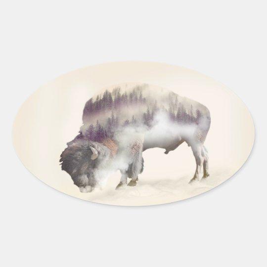 dendubbla exponering-amerikanen buffel-landskap ovalt klistermärke