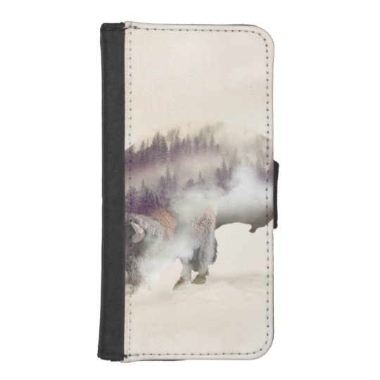 dendubbla exponering-amerikanen buffel-landskap plånboksskydd för mobilen