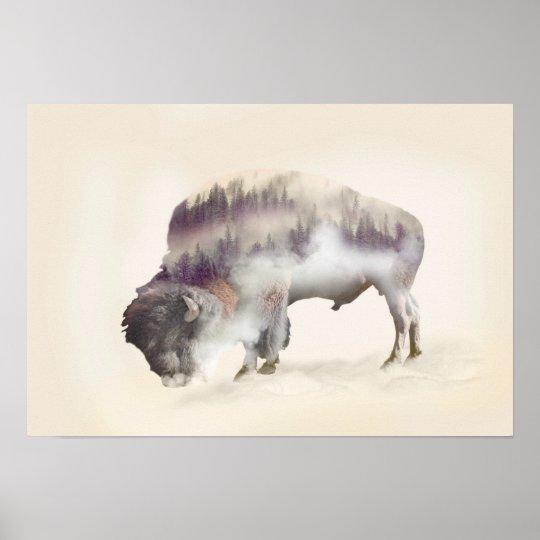 dendubbla exponering-amerikanen buffel-landskap poster