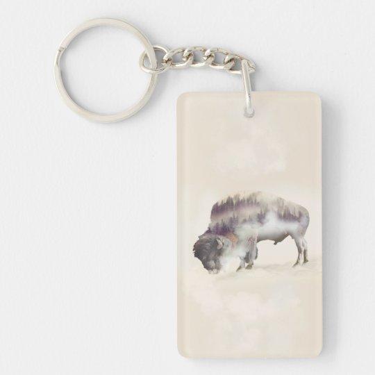 dendubbla exponering-amerikanen buffel-landskap rektangulärt dubbelsidigt nyckelring i akryl