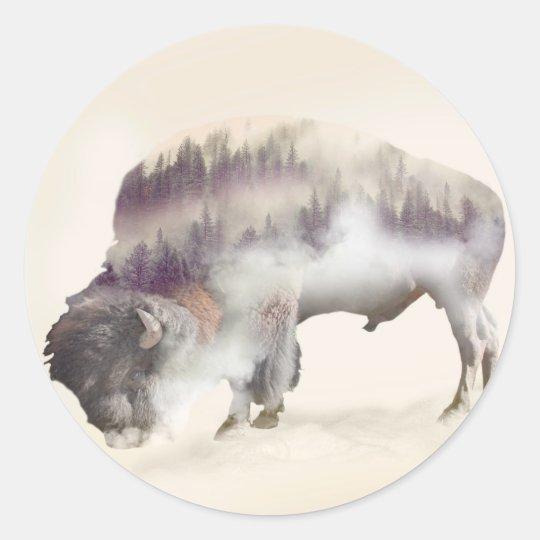 dendubbla exponering-amerikanen buffel-landskap runt klistermärke