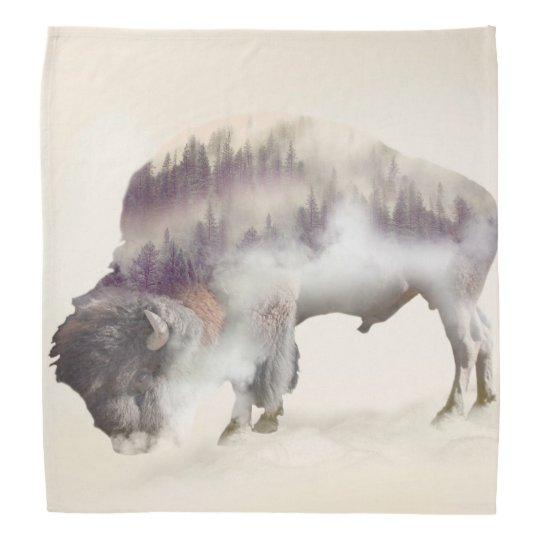 dendubbla exponering-amerikanen buffel-landskap scarf