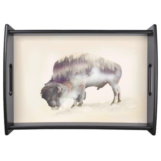 dendubbla exponering-amerikanen buffel-landskap serveringsbricka