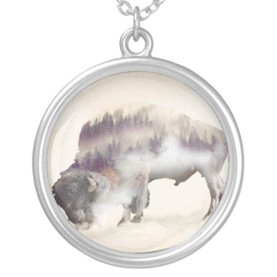 dendubbla exponering-amerikanen buffel-landskap silverpläterat halsband