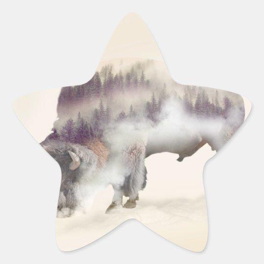 dendubbla exponering-amerikanen buffel-landskap stjärnformat klistermärke