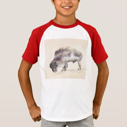 dendubbla exponering-amerikanen buffel-landskap t shirt