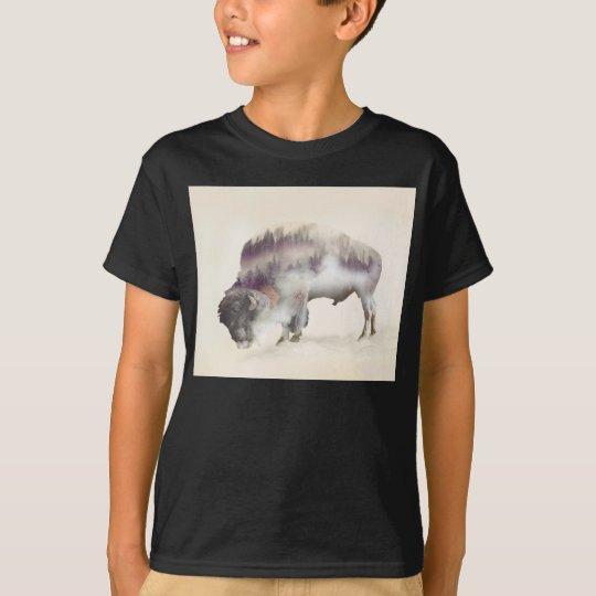 dendubbla exponering-amerikanen buffel-landskap t-shirt