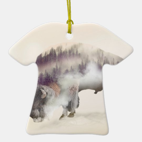 dendubbla exponering-amerikanen buffel-landskap  T-Shirt formad julgransprydnad i keramik