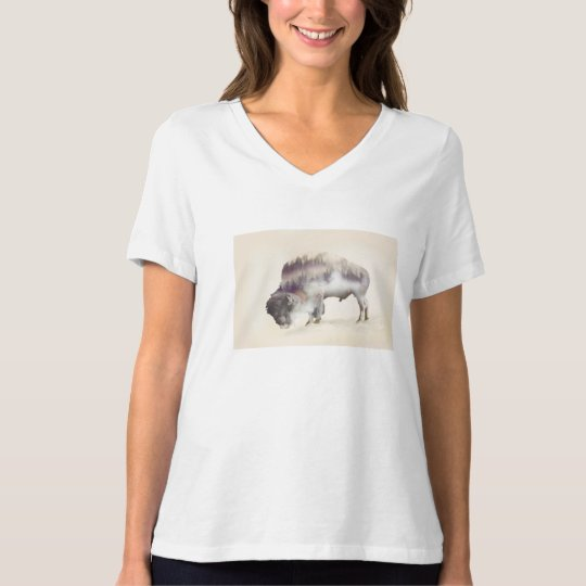 dendubbla exponering-amerikanen buffel-landskap t shirts