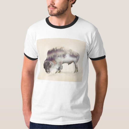 dendubbla exponering-amerikanen buffel-landskap t-shirts