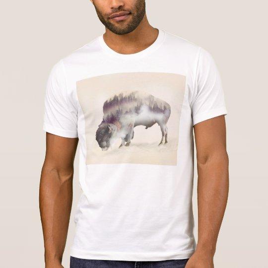 dendubbla exponering-amerikanen buffel-landskap tee