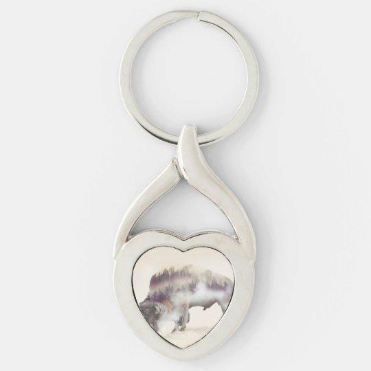 dendubbla exponering-amerikanen buffel-landskap twisted heart silverfärgad nyckelring