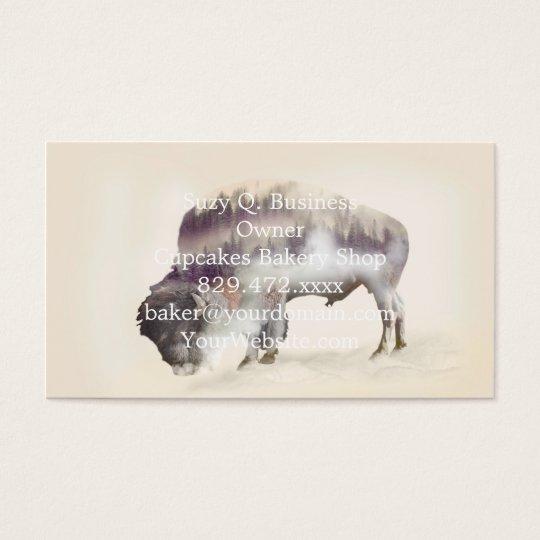 dendubbla exponering-amerikanen buffel-landskap visitkort