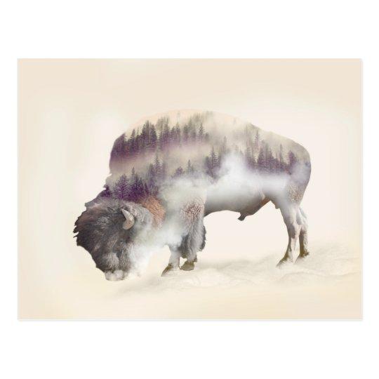 dendubbla exponering-amerikanen buffel-landskap vykort