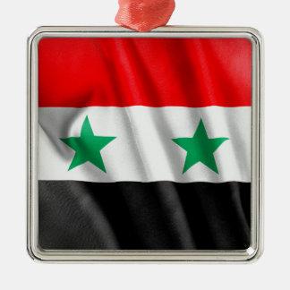 DenFärgade Syrien flagga kvadrerar dekoration Silverfärgad Fyrkantigt Julgransprydnad