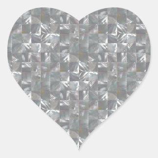 DenGrå färg modern av pärlan belägger med tegel Hjärtformat Klistermärke