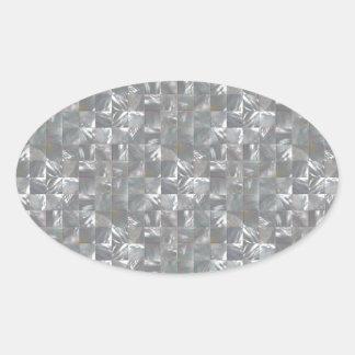 DenGrå färg modern av pärlan belägger med tegel Ovalt Klistermärke