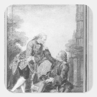 Denis Diderot och Melchior, baron de Grimm Fyrkantigt Klistermärke