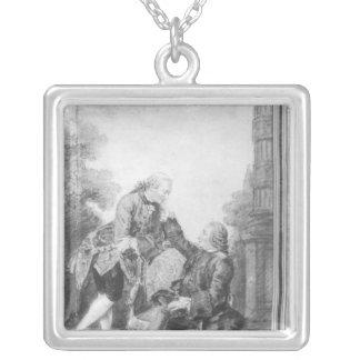 Denis Diderot och Melchior, baron de Grimm Silverpläterat Halsband
