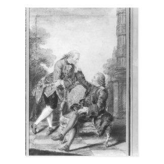 Denis Diderot och Melchior, baron de Grimm Vykort