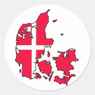 denmark flaggakarta runt klistermärke